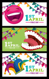 collection banners celebration - april fools day vector illustration - 194470318