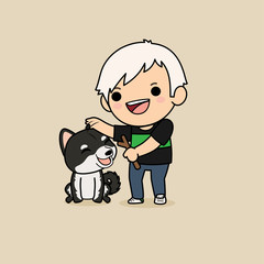 Cute cartoon character design Black Shiba Inu dog with a man play game with a branch for dog.