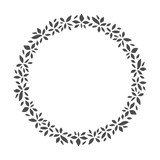 vector hand drawn floral wreath, round frame with leaves, decorative design element, illustration - 194481709