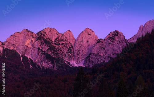 mountain ranges in Julien Alps, Italy. scene after sunset