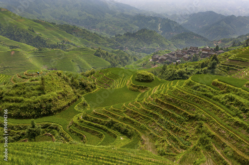 Deurstickers Rijstvelden View of the Longsheng Rice Terraces near the of the Dazhai village in the province of Guangxi, in China, with a female farmer working the land.