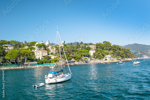 Foto op Canvas Liguria Mediterranean sea landscape blue sky italian riviera