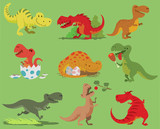 Cartoon  Dinosaur Tyrannosaurus Rex Character Dino And Jurassic Tyrannosaur Attacking Illustration  Ancient Animal Old Reptyle  Teeth Hunter Sleep Open Mouth And Eggs  Wall Sticker