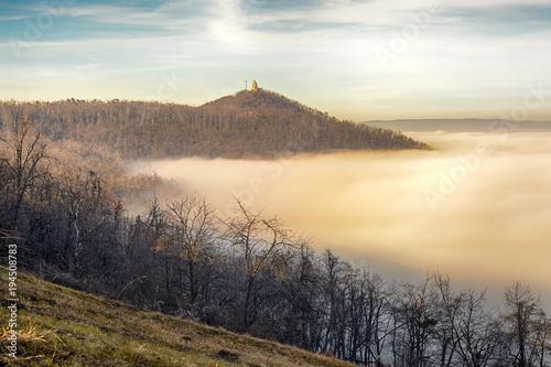 Aluminium Beige János Hill in Budapest with distant Elizabeth Lookout on top. Autumn, fog