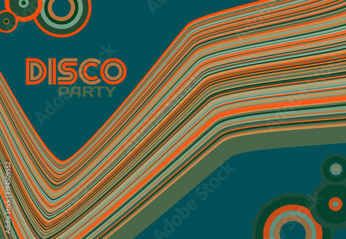 Naklejka Flyer design for disco party with striped line and circles. Retro style. Vector graphic pattern