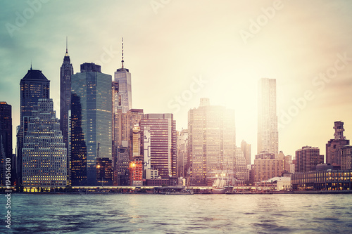 Foto op Aluminium New York Manhattan skyline at sunset, color toned picture, New York City, USA.