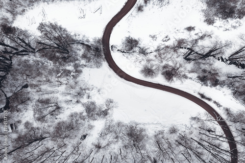 Winter forest and Road. Top view.