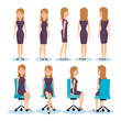businesswomen posing on office chair and stand vector illustration design