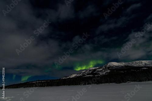 Aluminium Zwart Northern Lights Aurora Borealis, Yukon Territory, Canada