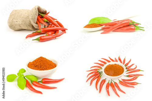 Deurstickers Hot chili peppers Group of spur pepper close-up isolated on white background