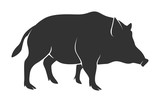Silhouette of warthog isolated on white background - 194531357