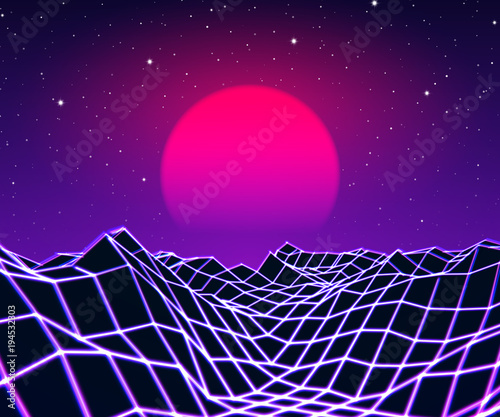 Fotobehang Violet Neon grid landscape and sun with 80s game style