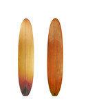 Vintage wood surfboard isolated on white with clipping path for object, retro styles. - 194540302
