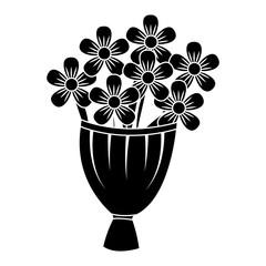 decorative bouquet flowers romantic image vector illustration black and white design