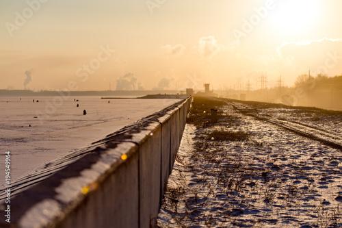 Aluminium Zomer Winter landscape of nature at sunset