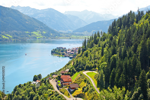 Aluminium Pool beautiful landscape with blue water, shot from above, Zell am See, Austria