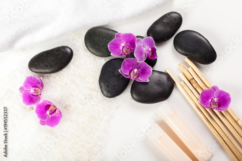 Foto op Canvas Spa zen stone and orchid. spa concept
