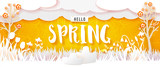 Spring flowering meadow and trees. White grass and flowers carved from white paper on a yellow background with abstract doodle ornament. Cut out of paper banner. Hello Spring text. Vector illustration