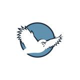 emblem of flying owl on blue round