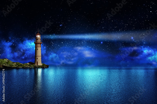 Leinwanddruck Bild Safety and hope concept, a lighthouse on a tropical island on the ocean with a beam of light in the night sky with stars