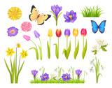 Flowers And Butterflies Set  Illustration Wall Sticker