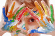 Beautiful little child girl with colorful painted hands. (art, childhood, color, creativity concept)