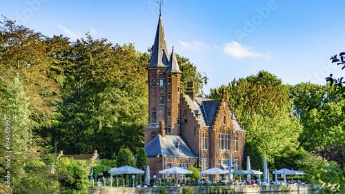 Deurstickers Brugge Belgium, Brugge Kasteel Minnewater Lago Minnewater
