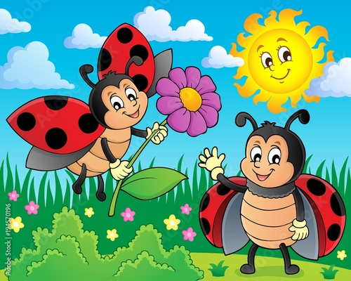 Fotobehang Voor kinderen Happy ladybugs on meadow image 1