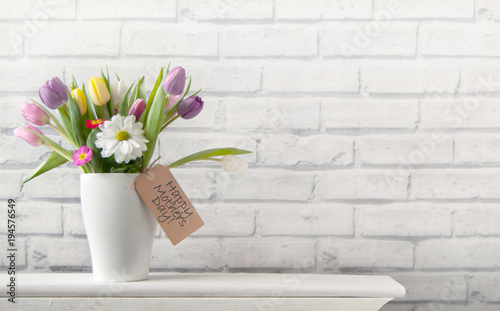 Fridge magnet Happy mothers day flowers background