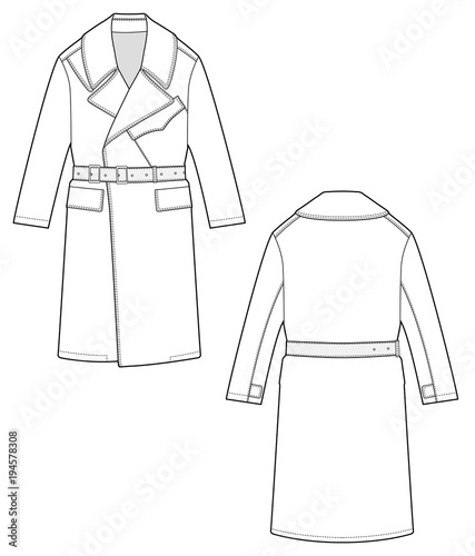 Sandro Coat Fashion Flat Technical Drawing Template