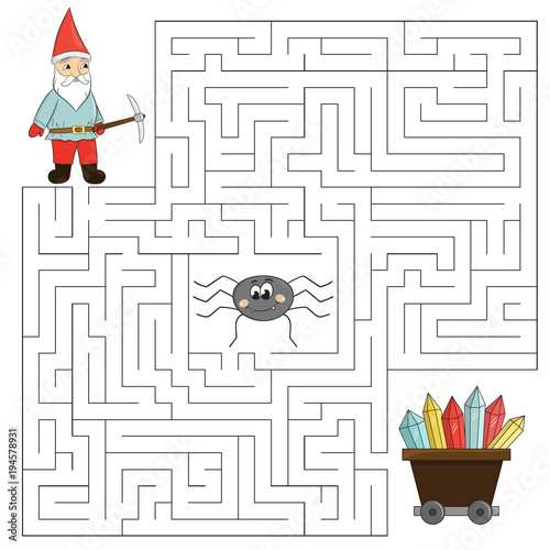 Educational maze game for children. Help the dwarf find way to crystals, beware of the spider. Vector illustration