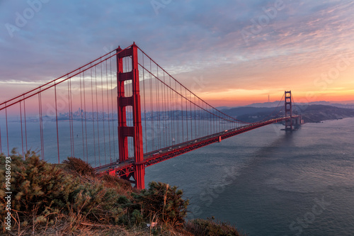 Fototapeta Famous Golden Gate Bridge at sunset,, San Francisco USA