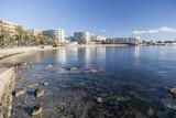 Mediterranean beach in balearic town of Santa Eularia des Riu, Ibiza, Spain. - 194593342