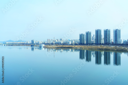 Foto op Canvas Seoel Cityscape of Seoul and Han river or Hangang in South Korea
