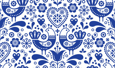 Scandinavian seamless folk art pattern with birds and flowers, Nordic floral design, retro background in navy blue