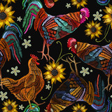 Embroidery Chicken Rooster And Sunflowers Seamless Pattern Fashion Template For Clothes Textiles Tshirt Design Beautiful Rooster And Chicken Classical Embroidery Seamless Pattern Wall Sticker