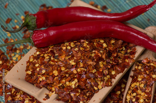 Tuinposter Hot chili peppers Hot Red Chilli pepper crushed