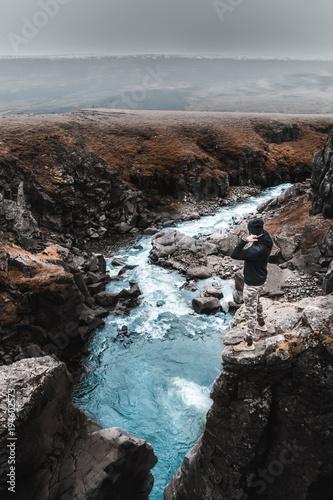 Foto op Canvas Grijze traf. Hengifoss - Iceland hiking
