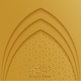Ramadan Kareem greeting card template with mosque door and arabic pattern gold background - 194603574