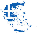 Flag in the outline of the Greece. Flag of the Hellenic Republic in blue and white colors with white cross. Banner with the shape of Hellas. Isolated. Illustration on white background. Vector. - 194607534