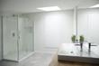 White bathroom interior with window