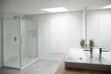 White bathroom interior with window - 194608715