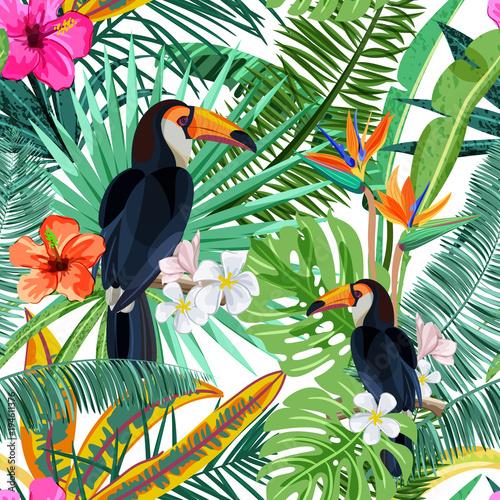 wzor-z-zielonymi-tropikalnymi-palma-liscmi-poslubnikow-kwiatami-i-ptasim-pieprzojadem