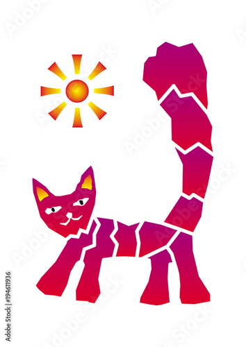 Fototapeta Cat and sun. Graphic picture, positive drawing. Purple and yellow. Vector.