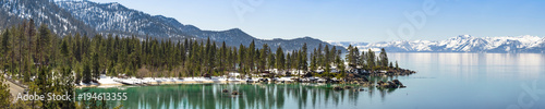 Foto op Canvas Panoramafoto s Sand Harbor in winter panorama, Lake Tahoe east shore