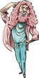 Cartoon of a long-haired, bearded man in pink and blue doing a fashion pose.