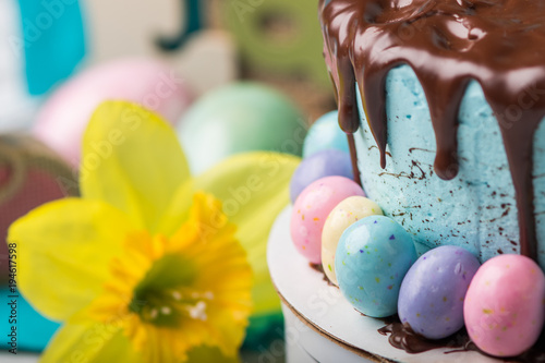 Easter cake with yellow daffodil in background