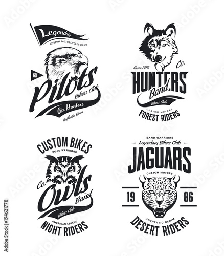 ebf13940 Vintage jaguar, wolf, eagle and owl bikers club t-shirt vector isolated logo