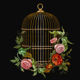 Embroidery birds cage and flowers vector. Classical embroidery golden cage, vintage buds of wild roses. Spring fashion art, template for design of clothes, t-shirt - 194621919