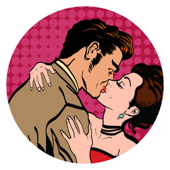 Love story lovers kissing man kisses a woman, retro style pop art. Love people